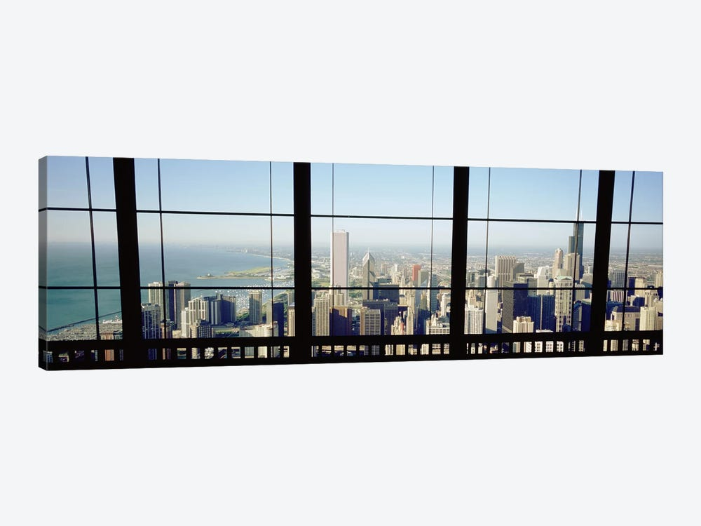 High angle view of a city as seen through a window, Chicago, Illinois, USA by Panoramic Images 1-piece Canvas Wall Art