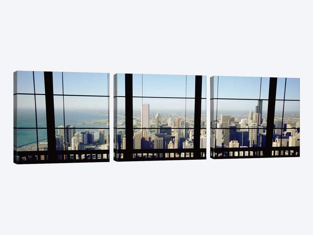 High angle view of a city as seen through a window, Chicago, Illinois, USA by Panoramic Images 3-piece Canvas Art