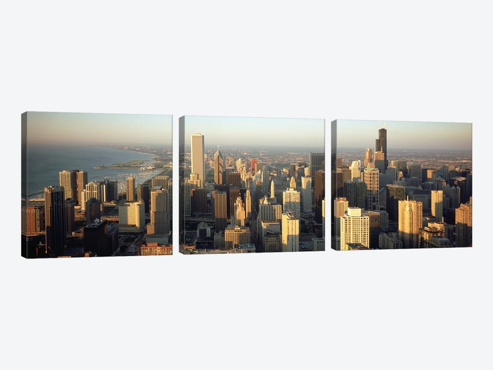 High angle view of buildings in a city, Chicago, Illinois, USA by Panoramic Images 3-piece Canvas Art