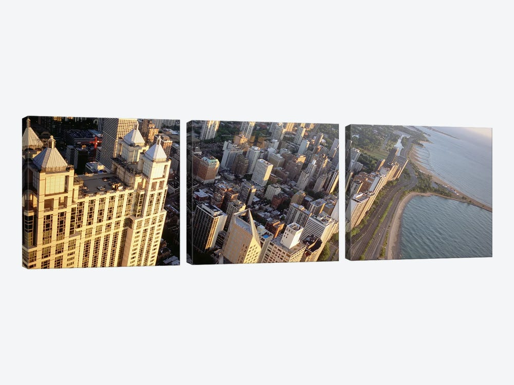 High angle view of a highway along a lake, Lake Shore Drive, Chicago, Illinois, USA by Panoramic Images 3-piece Art Print