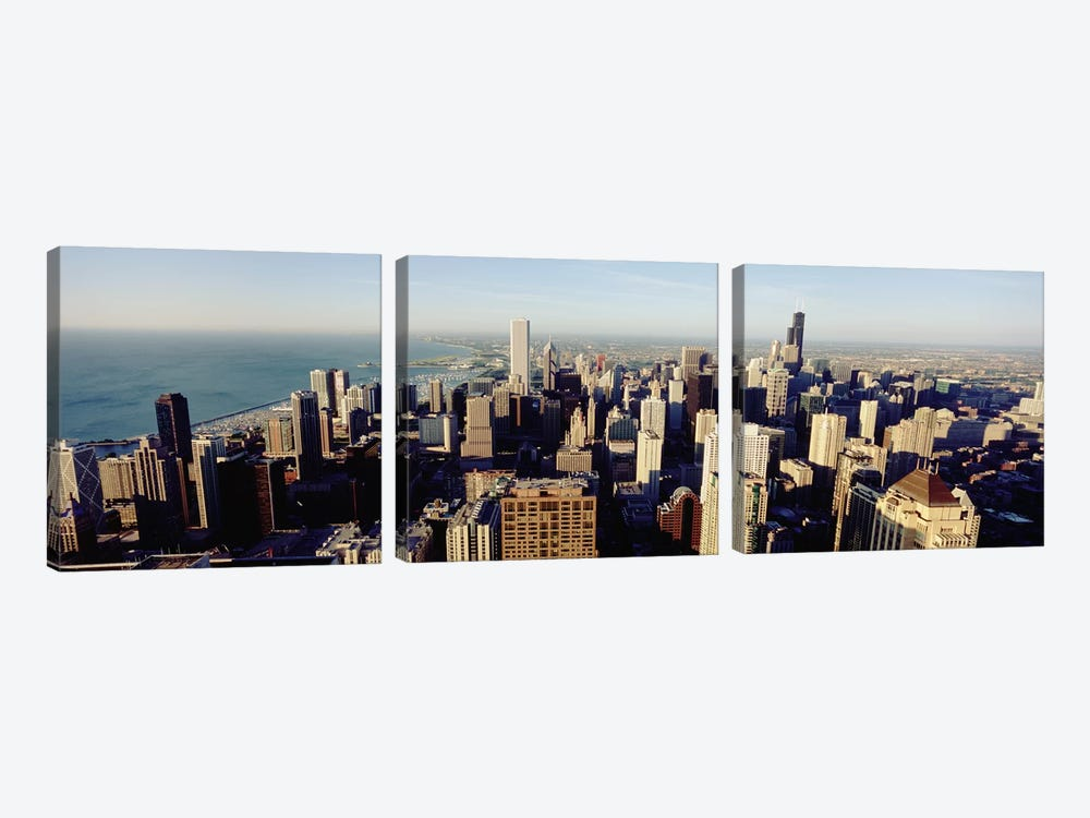 High angle view of buildings in a city, Chicago, Illinois, USA #2 by Panoramic Images 3-piece Canvas Wall Art