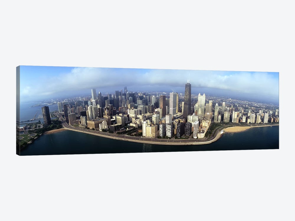 High angle view of buildings at the waterfront, Chicago, Illinois, USA by Panoramic Images 1-piece Canvas Art Print
