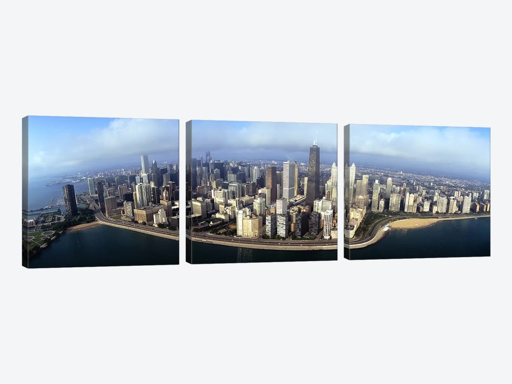 High angle view of buildings at the waterfront, Chicago, Illinois, USA by Panoramic Images 3-piece Canvas Print