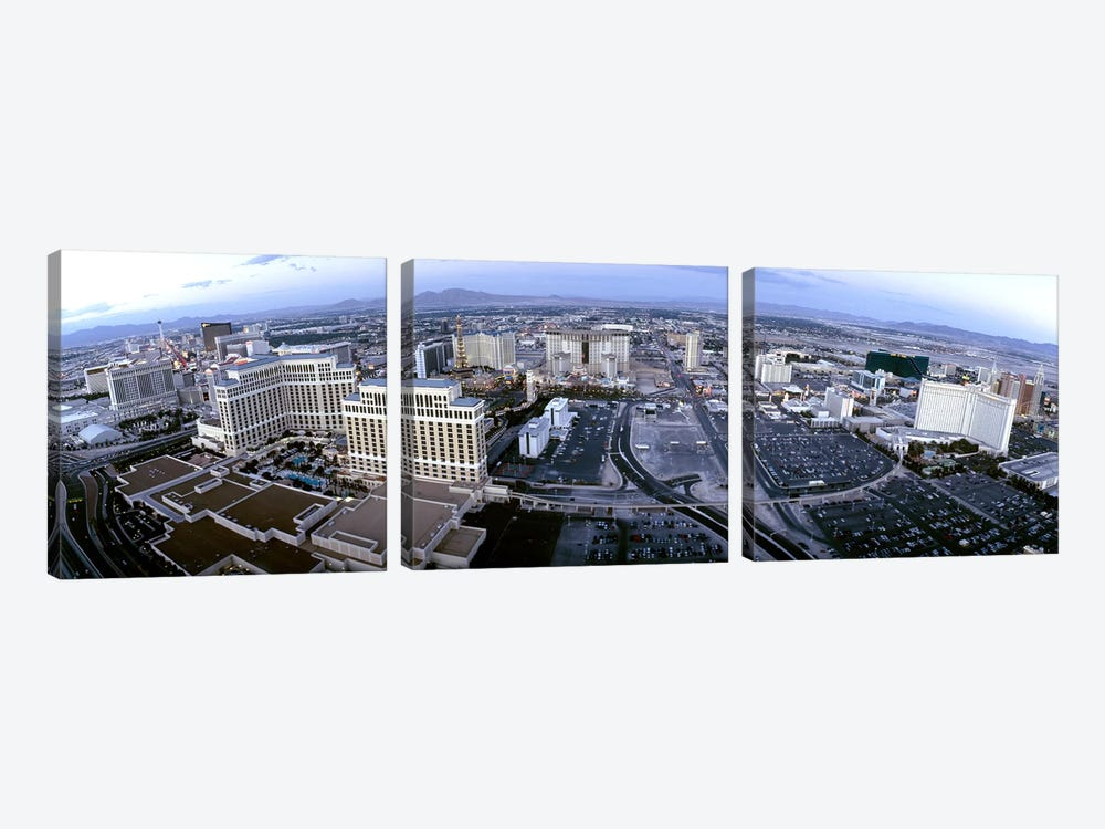 Aerial view of a city, Las Vegas, Nevada, USA by Panoramic Images 3-piece Canvas Print
