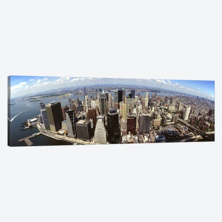 Wide-Angle Aerial View Of Manhattan, New York City, New York, USA Canvas Print #PIM4947} by Panoramic Images Art Print