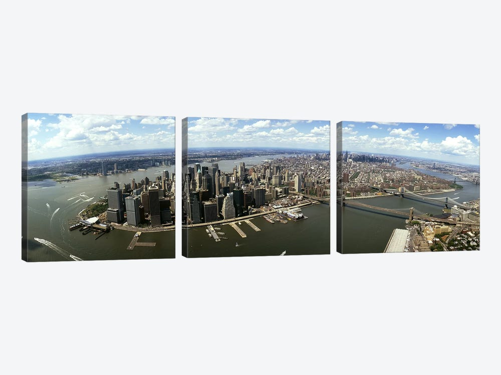 Aerial view of buildings in a city, New York City, New York State, USA by Panoramic Images 3-piece Canvas Art