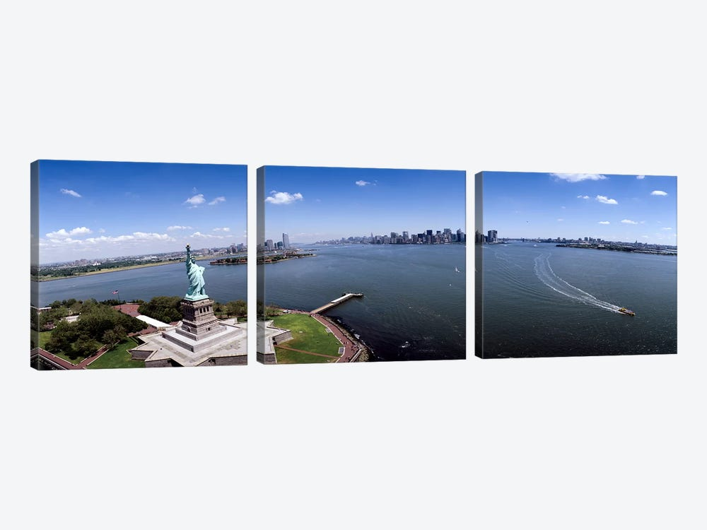 Aerial view of a statue, Statue of Liberty, New York City, New York State, USA by Panoramic Images 3-piece Art Print