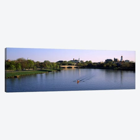 Boat in a river, Charles River, Boston & Cambridge, Massachusetts, USA Canvas Print #PIM494} by Panoramic Images Canvas Art