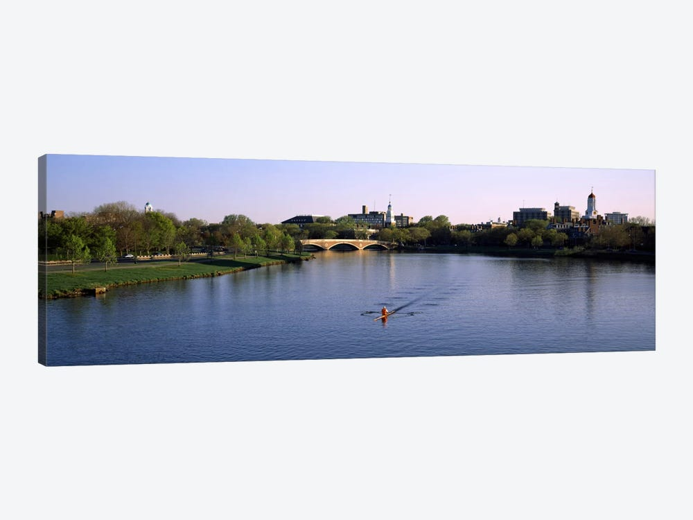 Boat in a river, Charles River, Boston & Cambridge, Massachusetts, USA by Panoramic Images 1-piece Canvas Wall Art