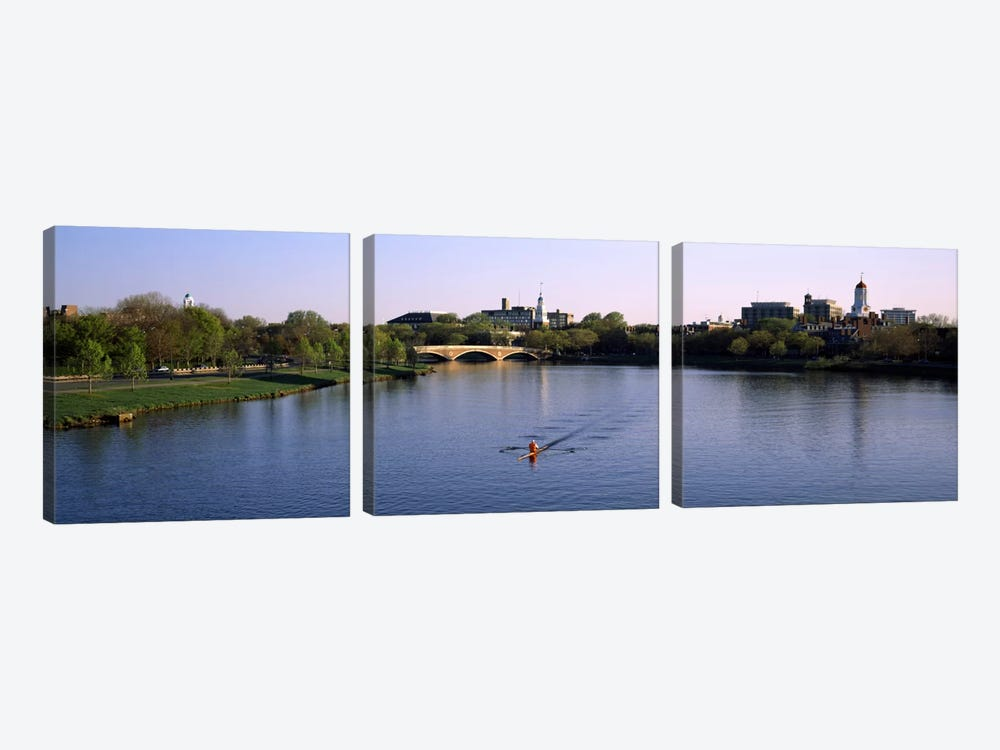 Boat in a river, Charles River, Boston & Cambridge, Massachusetts, USA by Panoramic Images 3-piece Canvas Artwork