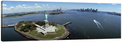 Aerial view of a statue, Statue of Liberty, New York City, New York State, USA #2 Canvas Art Print