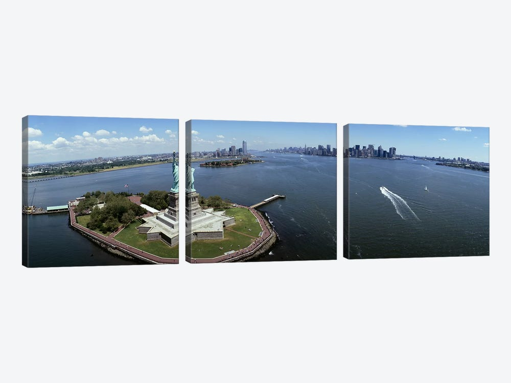 Aerial view of a statue, Statue of Liberty, New York City, New York State, USA #2 by Panoramic Images 3-piece Art Print
