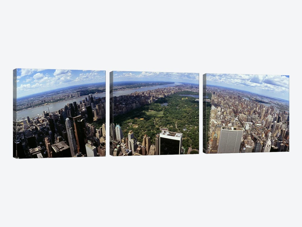 Aerial view of buildings in a city, Manhattan, New York City, New York State, USA by Panoramic Images 3-piece Canvas Art