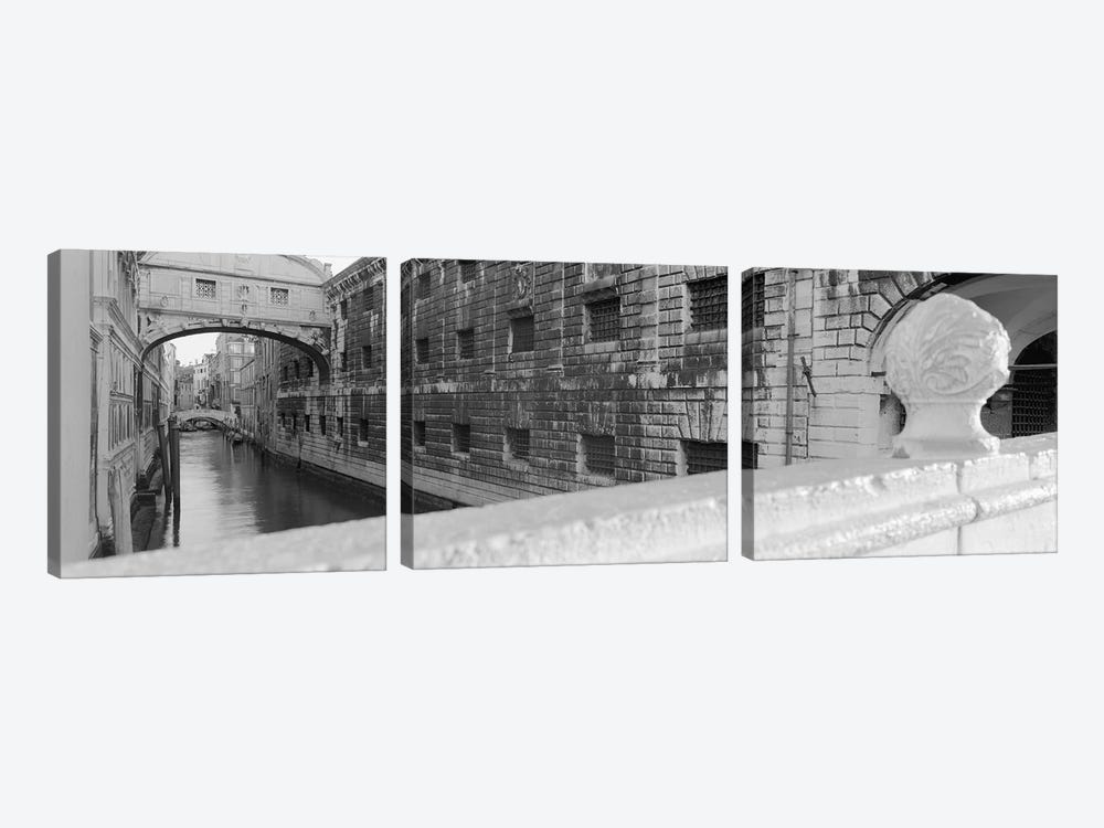 Bridge Of Sighs In B&W, Rio de la Canonica, Venice, Italy 3-piece Canvas Print