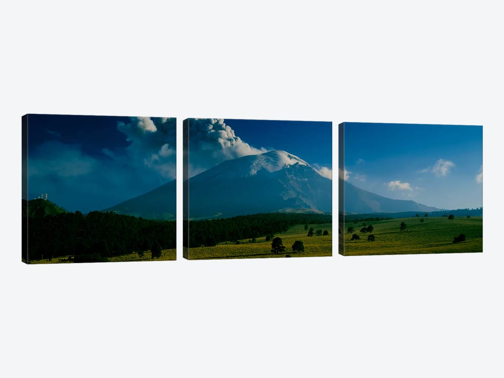 Ash Cloud Over Popocatepetl As Seen From Paso de Cortes, Mexico by Panoramic Images 3-piece Art Print