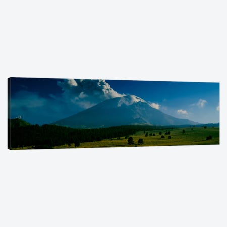 Ash Cloud Over Popocatepetl As Seen From Paso de Cortes, Mexico 3-Piece Canvas #PIM495} by Panoramic Images Canvas Art