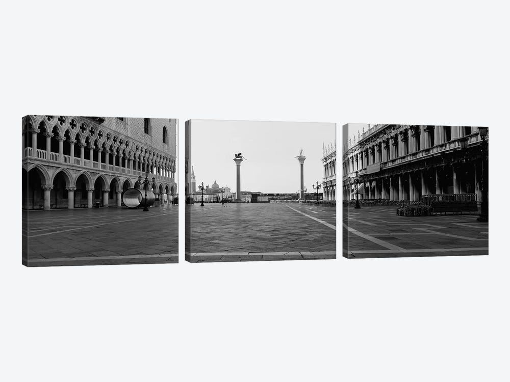 Piazzetta di San Marco In B&W, Venice, Italy by Panoramic Images 3-piece Canvas Art Print