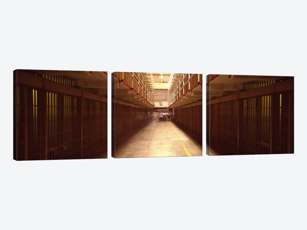 Cell Block In A Prison, Alcatraz Island, San Francisco, California, USA by Panoramic Images 3-piece Canvas Artwork