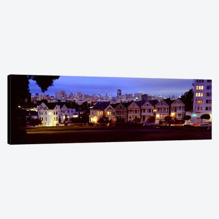 Buildings Lit Up At Dusk, Alamo Square, San Francisco, California, USA Canvas Print #PIM4968} by Panoramic Images Canvas Artwork