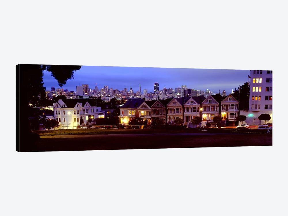 Buildings Lit Up Dusk, Alamo Square, San Francisco, California, USA by Panoramic Images 1-piece Canvas Artwork