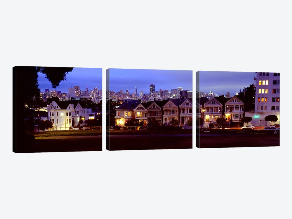 Buildings Lit Up Dusk, Alamo Square, San Francisco, California, USA by Panoramic Images 3-piece Canvas Wall Art