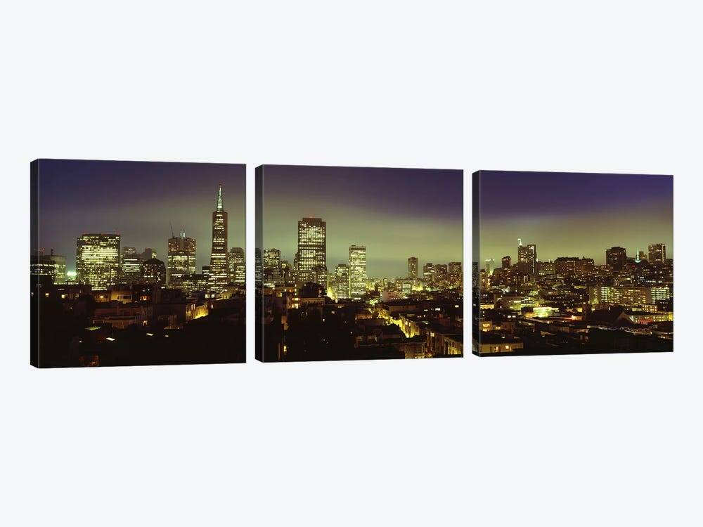 Financial District Skyline At Night, San Francisco, California, USA by Panoramic Images 3-piece Art Print