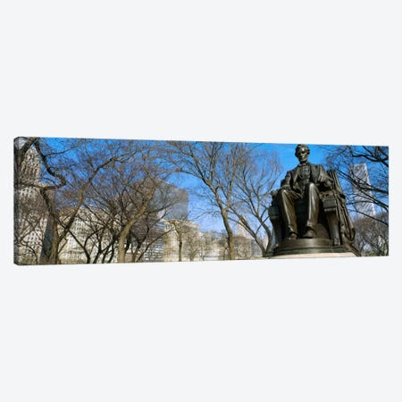 Low angle view of a statue of Abraham Lincoln in a park, Grant Park, Chicago, Illinois, USA Canvas Print #PIM496} by Panoramic Images Canvas Wall Art