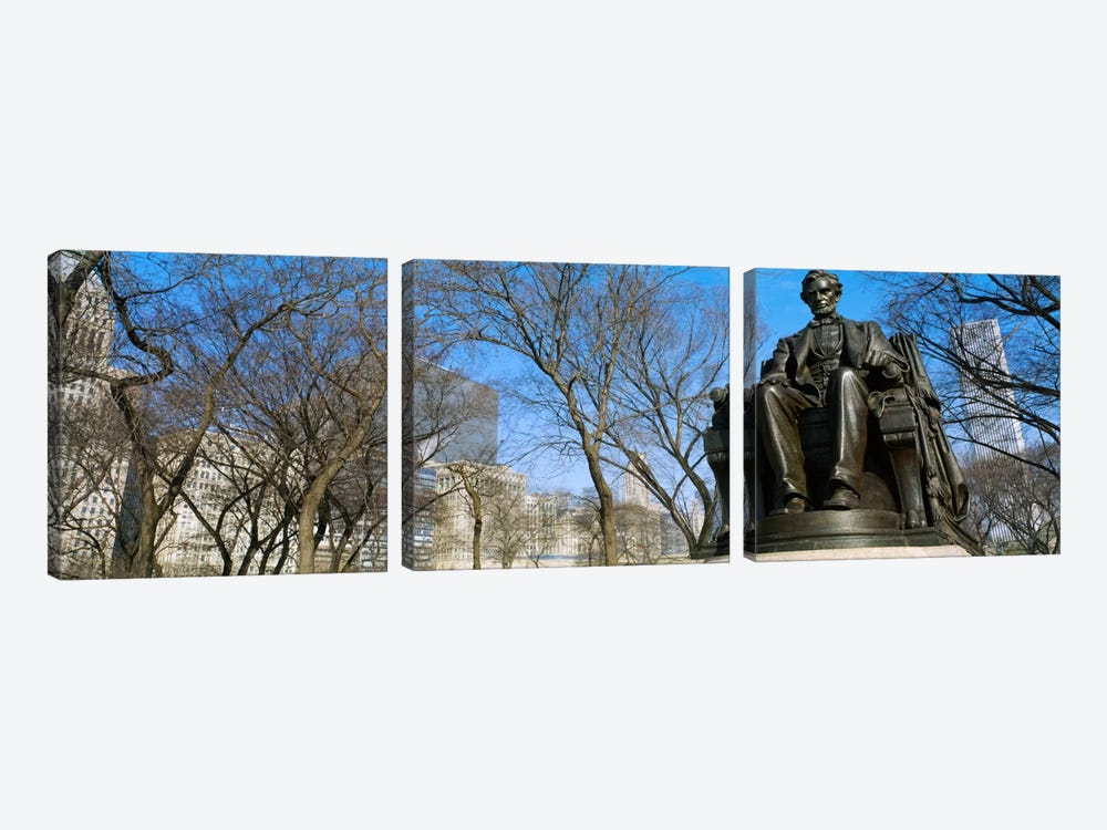 Low angle view of a statue of Abraham Lincoln in a park, Grant Park, Chicago, Illinois, USA by Panoramic Images 3-piece Canvas Artwork