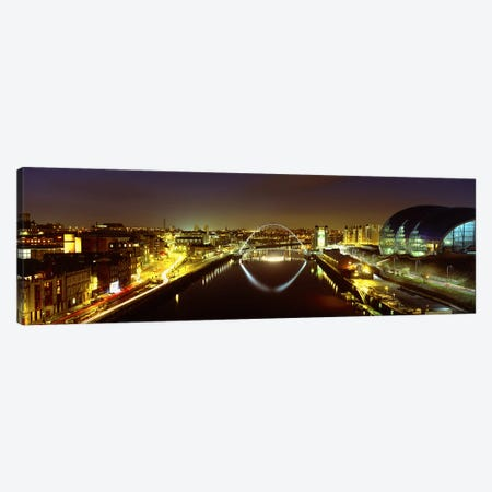 Nighttime Illumination, Gateshead Millennium Bridge, Northumberland, England, United Kingdom Canvas Print #PIM4973} by Panoramic Images Art Print