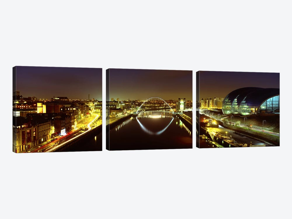 Nighttime Illumination, Gateshead Millennium Bridge, Northumberland, England, United Kingdom by Panoramic Images 3-piece Canvas Artwork