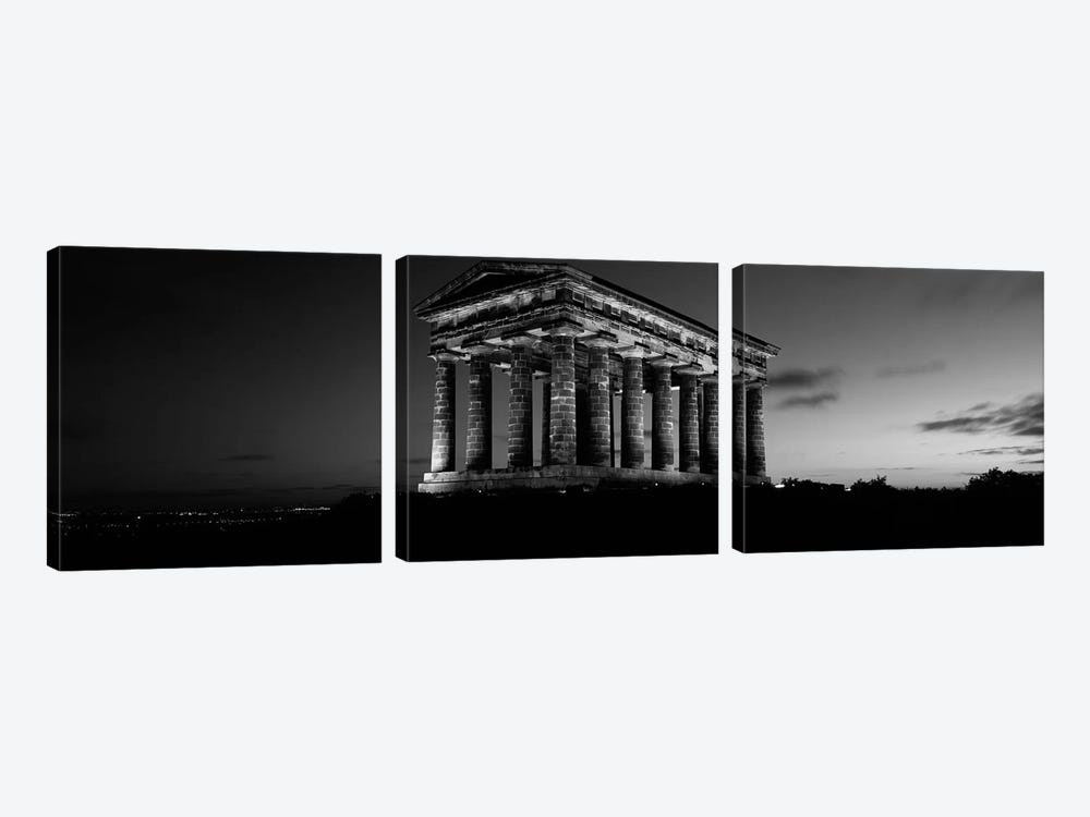 Low Angle View of A Building, Penshaw Monument, Durham, England, United Kingdom (black & white) by Panoramic Images 3-piece Canvas Artwork