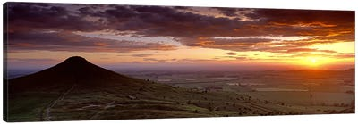 Silhouette Of A Hill At Sunset, Roseberry Topping, North Yorkshire, Cleveland, England, United Kingdom Canvas Art Print