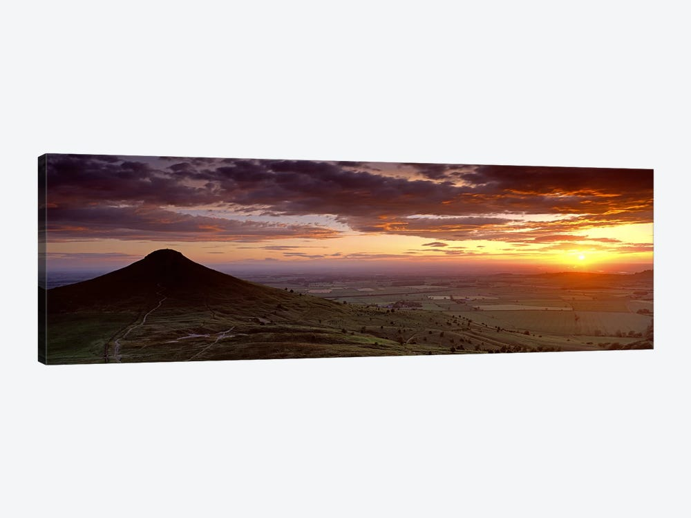 Silhouette Of A Hill At Sunset, Roseberry Topping, North Yorkshire, Cleveland, England, United Kingdom by Panoramic Images 1-piece Canvas Print