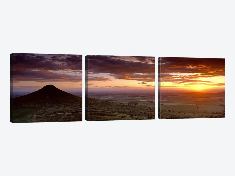 Silhouette Of A Hill At Sunset, Roseberry Topping, North Yorkshire, Cleveland, England, United Kingdom by Panoramic Images 3-piece Art Print