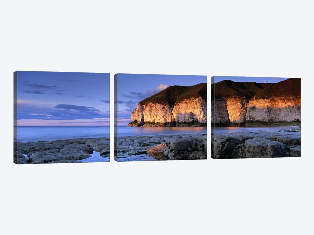 Coastal Cliffs, Thornwick Bay, Yorkshire, England, United Kingdom by Panoramic Images 3-piece Art Print