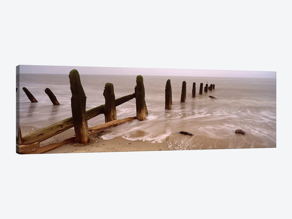 Posts On The Beach, Spurn, Yorkshire, England, United Kingdom 1-piece Canvas Artwork
