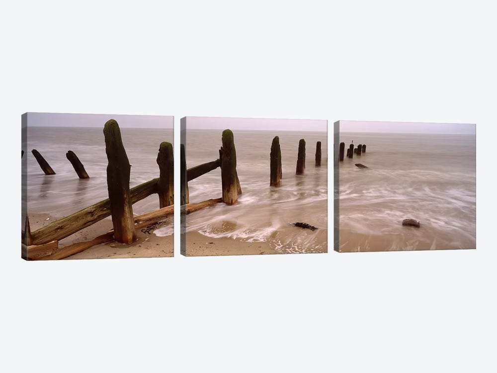 Posts On The Beach, Spurn, Yorkshire, England, United Kingdom 3-piece Canvas Artwork