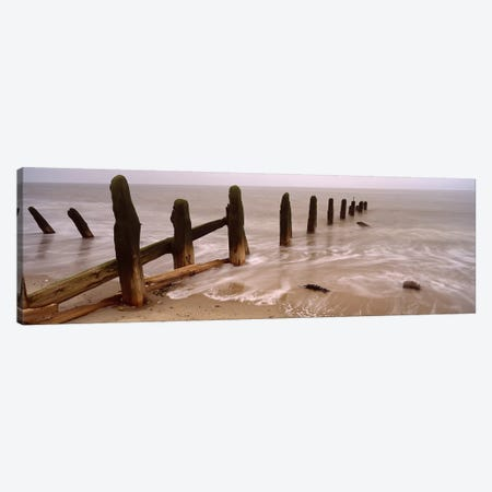 Posts On The Beach, Spurn, Yorkshire, England, United Kingdom Canvas Print #PIM4982} by Panoramic Images Canvas Wall Art