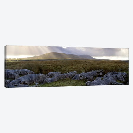 Sun Beams Breaking Through The Clouds Over Ingleborough, Yorkshire Dales National Park, England, United Kingdom Canvas Print #PIM4993} by Panoramic Images Canvas Print