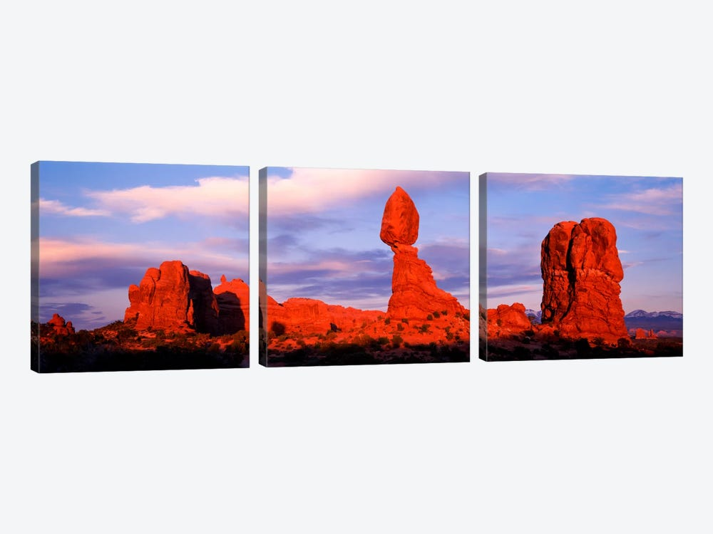 Balanced Rock (middle), Arches National Park, Grand County, Utah, USA 3-piece Canvas Wall Art