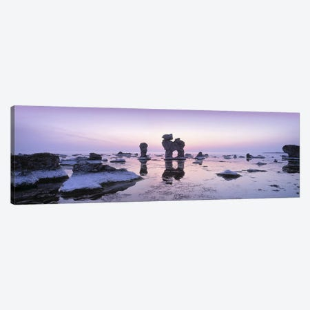 Rauks (Sea Stacks) On The Beach, Faro, Gotland, Sweden Canvas Print #PIM5011} by Panoramic Images Canvas Print