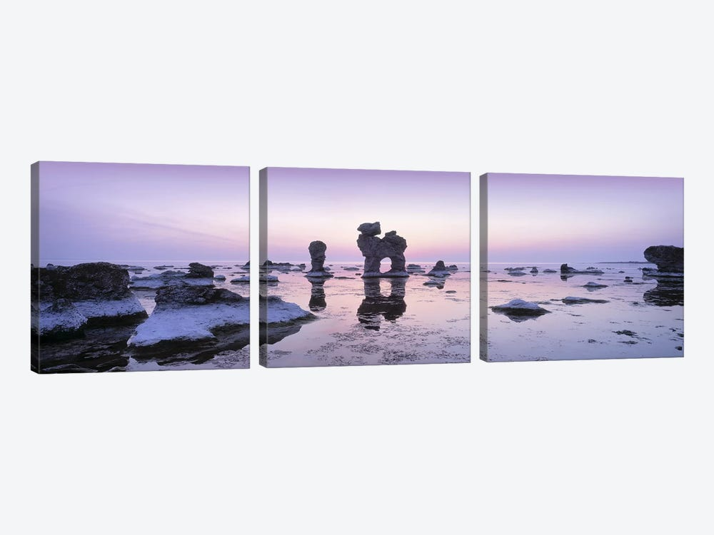 Rauks (Sea Stacks) On The Beach, Faro, Gotland, Sweden by Panoramic Images 3-piece Canvas Art