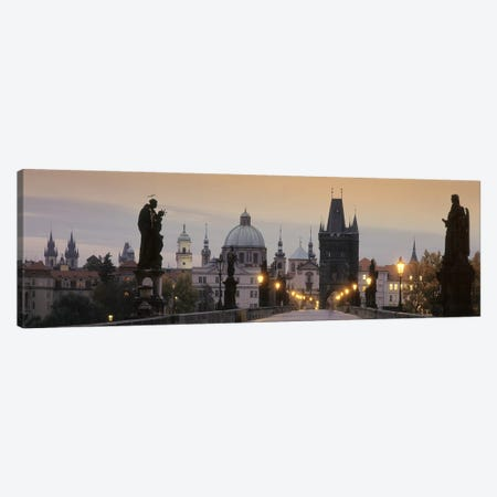Charles Bridge And The Spires Of Old Town At Twilight, Prague, Czech Republic 3-Piece Canvas #PIM5019} by Panoramic Images Canvas Print