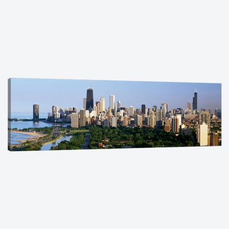 Buildings in a city, view of Hancock Building and Sears Tower, Lincoln Park, Lake Michigan, Chicago, Cook County, Illinois, USA Canvas Print #PIM501} by Panoramic Images Canvas Print