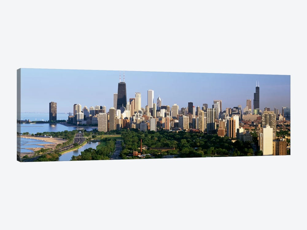 Buildings in a city, view of Hancock Building and Sears Tower, Lincoln Park, Lake Michigan, Chicago, Cook County, Illinois, USA by Panoramic Images 1-piece Canvas Print
