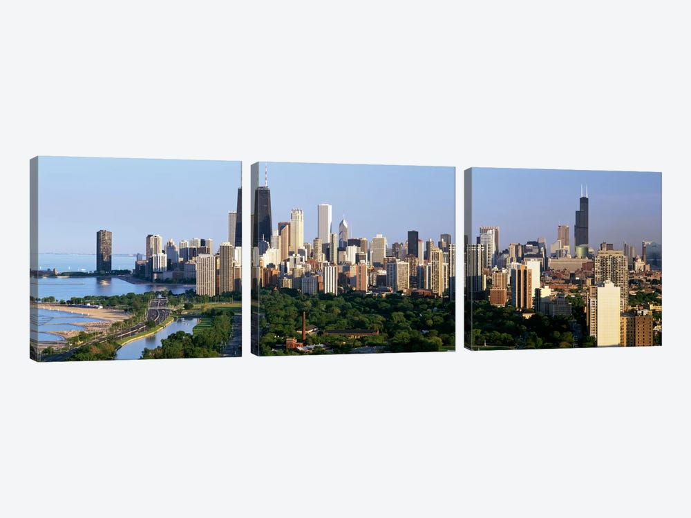 Buildings in a city, view of Hancock Building and Sears Tower, Lincoln Park, Lake Michigan, Chicago, Cook County, Illinois, USA by Panoramic Images 3-piece Art Print