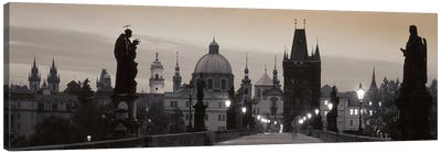 Charles Bridge And The Spires Of Old Town At Twilight In B&W, Prague, Czech Republic Canvas Print #PIM5020