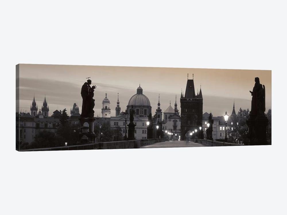 Charles Bridge And The Spires Of Old Town At Twilight In B&W, Prague, Czech Republic by Panoramic Images 1-piece Canvas Art