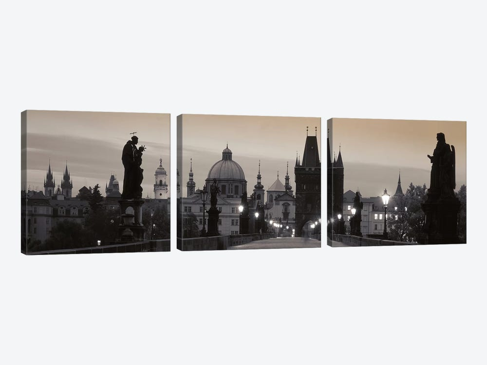 Charles Bridge And The Spires Of Old Town At Twilight In B&W, Prague, Czech Republic 3-piece Canvas Artwork