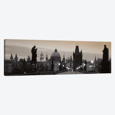 Charles Bridge And The Spires Of Old Town At Twilight In B&W, Prague, Czech Republic 3-Piece Canvas #PIM5020} by Panoramic Images Canvas Wall Art